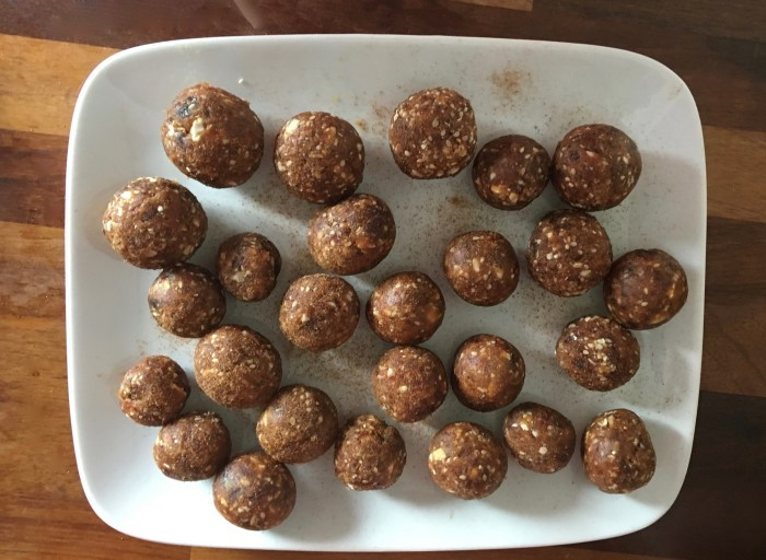 date, cashew, seed and cinnamon balls