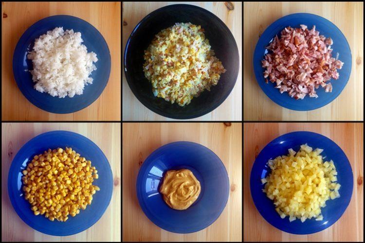 Sałatka z wędzonym kurczakiem, ryżem, ananasem i kukurydzą vel sałatka curry
