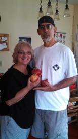 The locavore's parents, bearing pomegranates from their tree