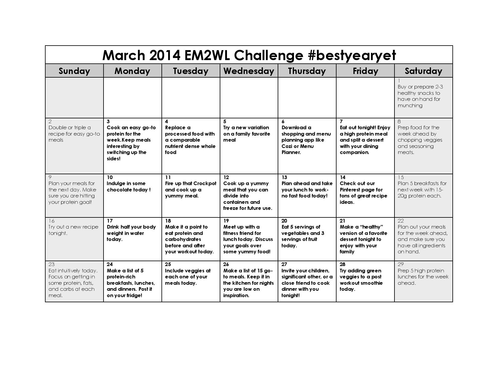 March 2014 Menu Planning Challenge - Eat More 2 Weigh Less