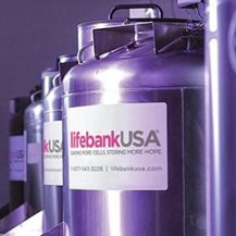 Large Stainless Steel Storage Tanks with words LifeBank USA on them