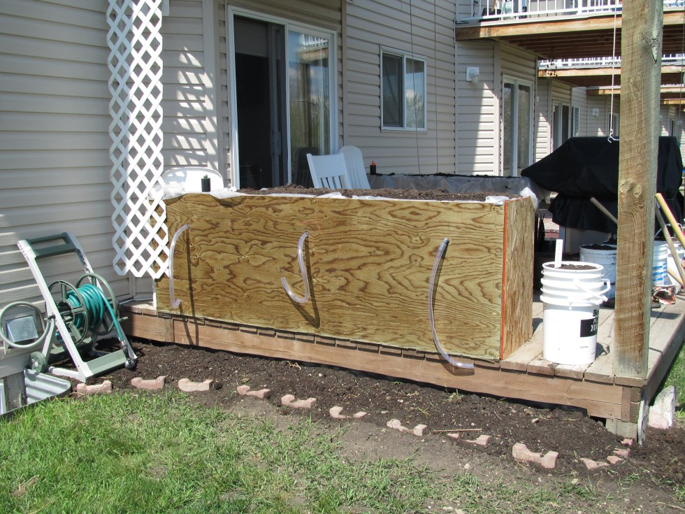 This is the first wicking bed I built on my own a couple years ago. I installed two on our deck in High River. I just took my PDC and I wanted to test the theory.