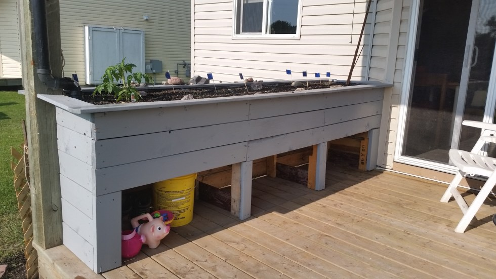 finished townhouse deck wicking bed