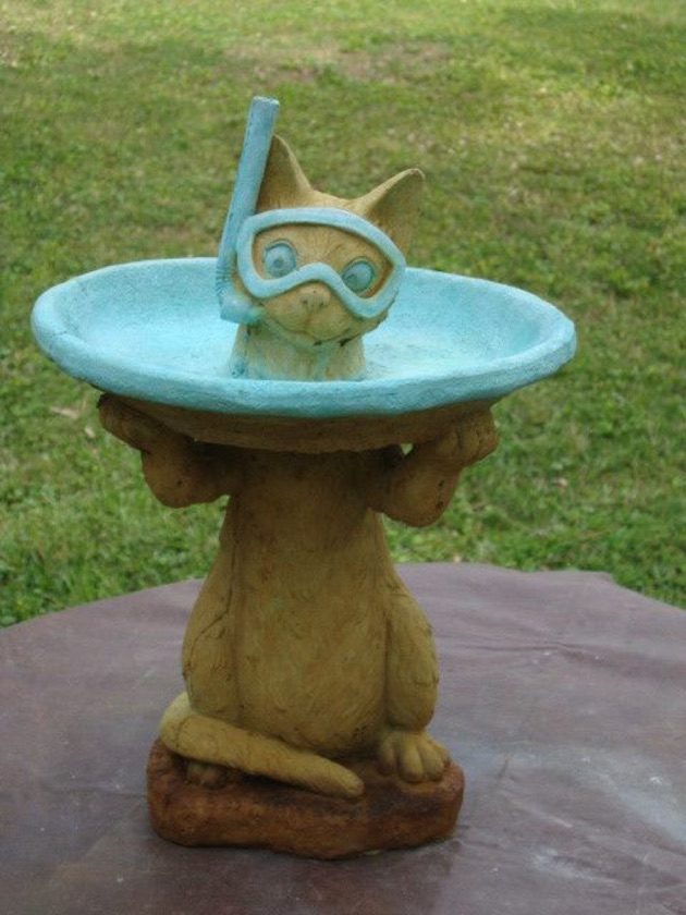 cat bird bath water features