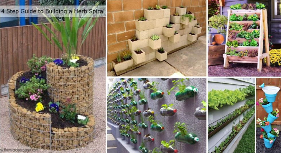 collage of different vertical gardening planters