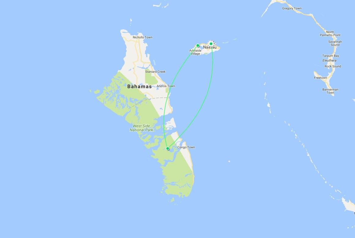 Map de mon parcours aux Bahamas
