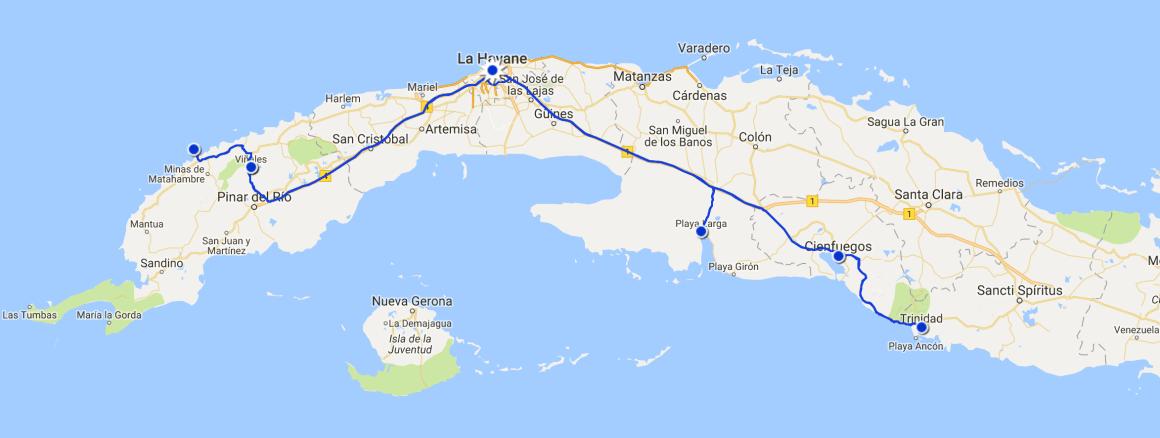 Zoom map parcours à Cuba