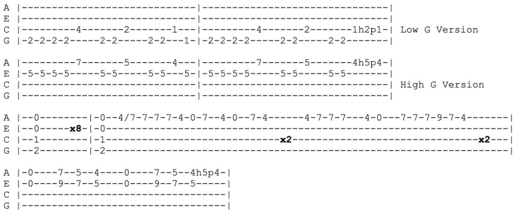 blink 182 - the rock show - ukulele tabs
