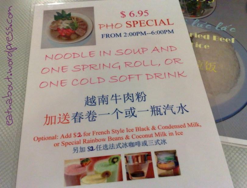 An Nam Restaurant specials menu