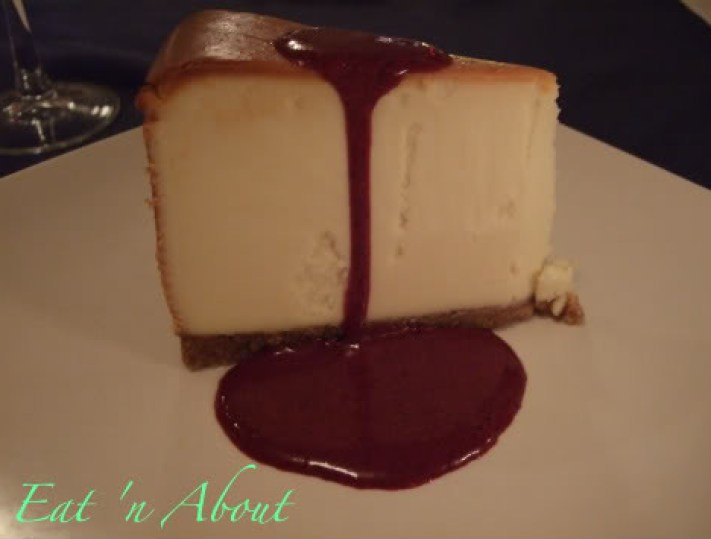 Steveston Seafood House: New York-Style Cheesecake with Chocolate sauce