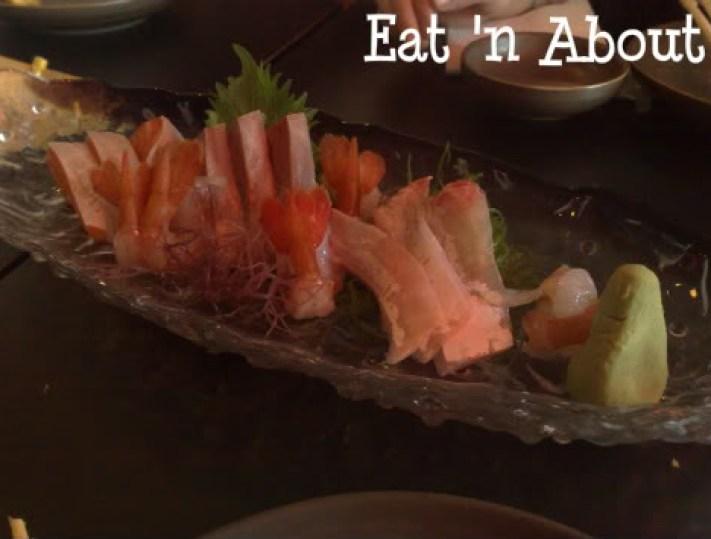 Soul Robata & Izakaya: Sweet Prawn & Triple Delight sashimi-Salmon, Hamachi, and Sea Bass