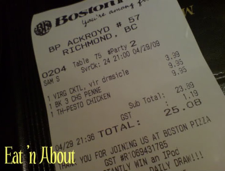 Boston Pizza Bill