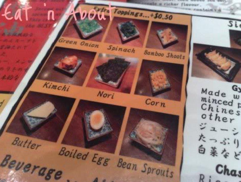 Benkei Noodle Shop menu