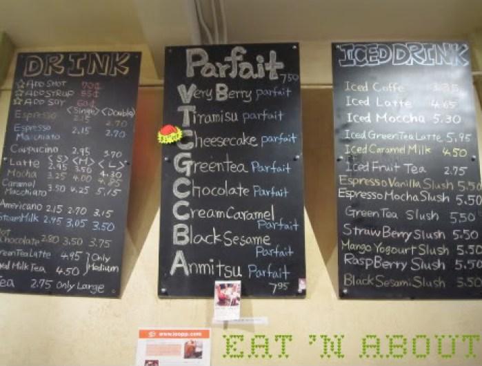 Chicco Cafe menu