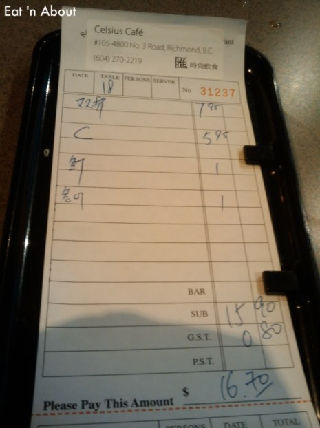 Celsius Cafe bill