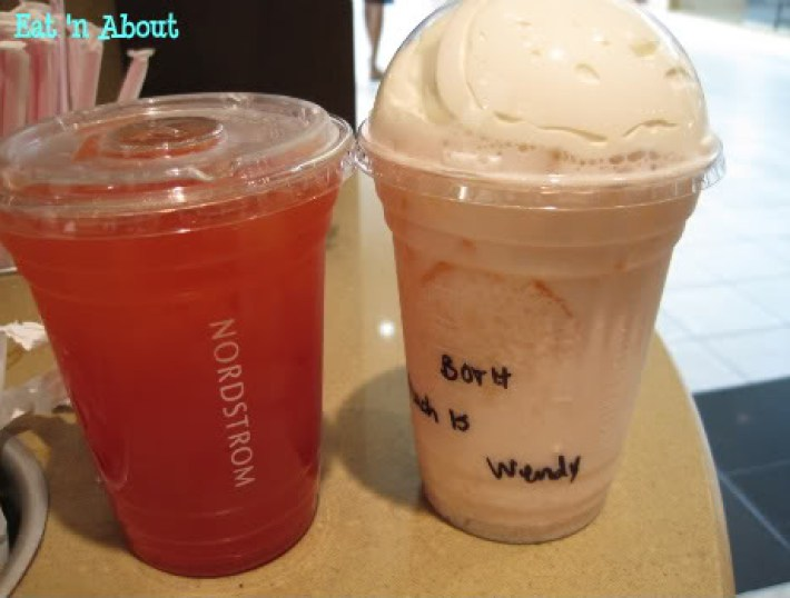 Nordstrom's ebar: Pomegranate Lemonade and Peach Italian Soda