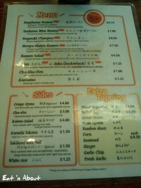 Menya Japanese Noodle menu