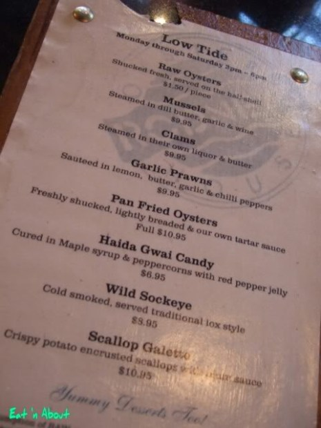 Rodney's Oyster House: Low Tide menu