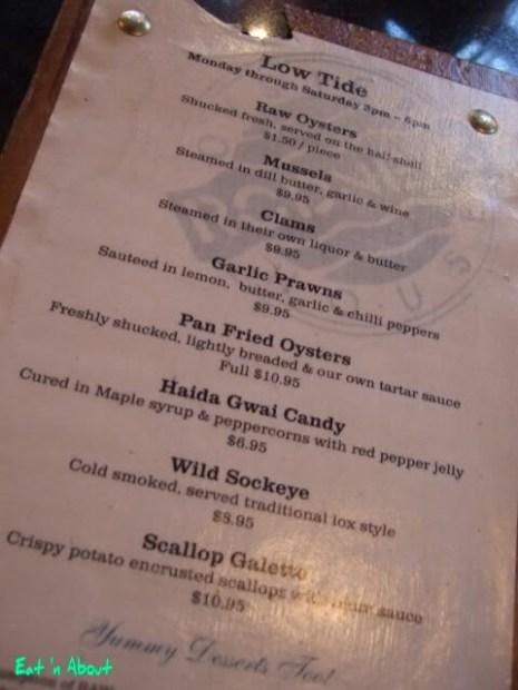 Rodney's Oyster House: Low Tide menu