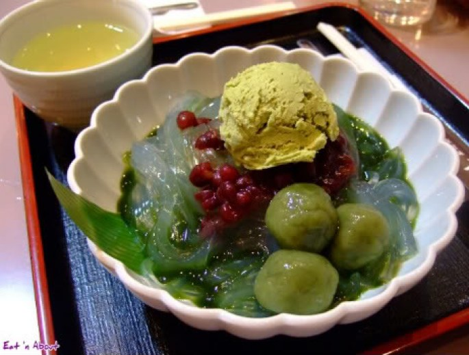 Porta, Kyoto Station: kanten jelly noodles in green tea syrup