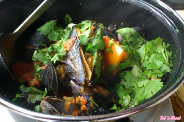 Chambar: Moules Frites Congolaise - tomato coconut cream, smoked chili & lime, cilantro