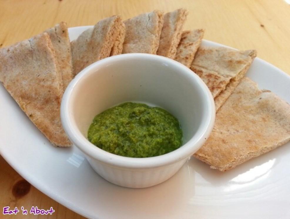Tamam Fine Palestinian Cuisine: Hot sauce and pita