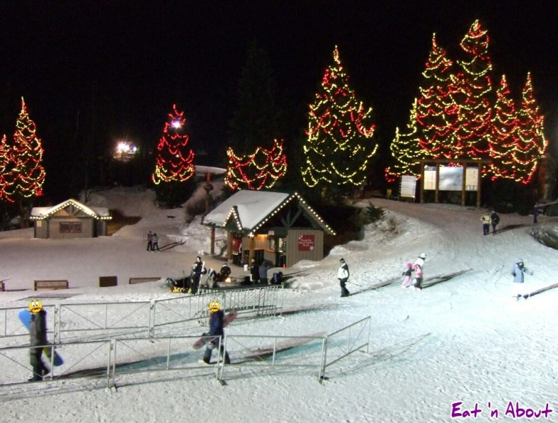 Christmas lights on Grouse Mountain, Vancouver, BC at night