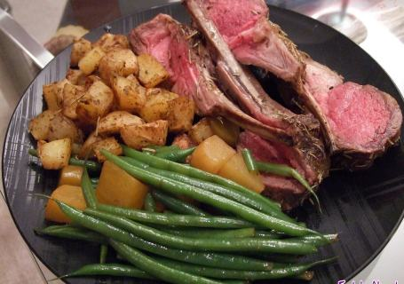 Roasted Rack of Lamb dinner