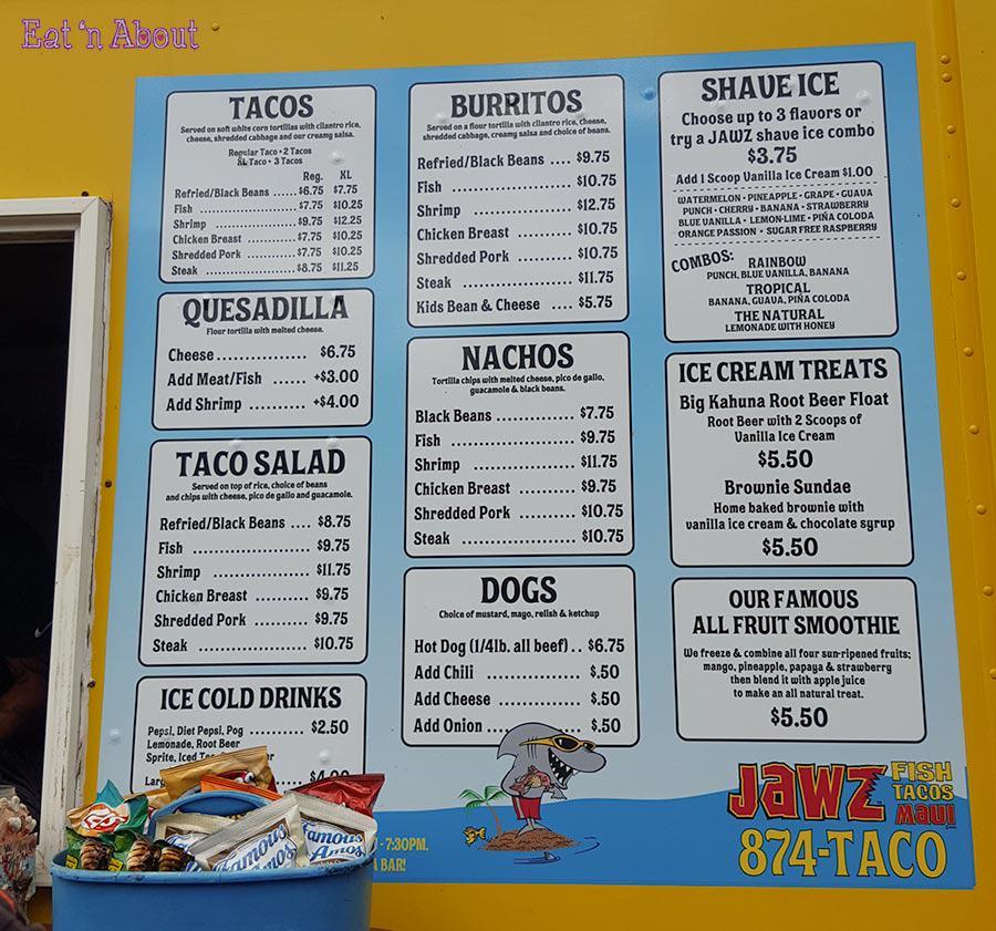 Jawz Tacos - menu