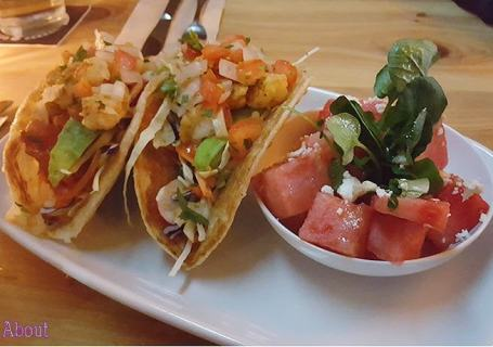 Romer's Burger Bar - Sea of Cortez Shimp Tacos with Watermelon Salad