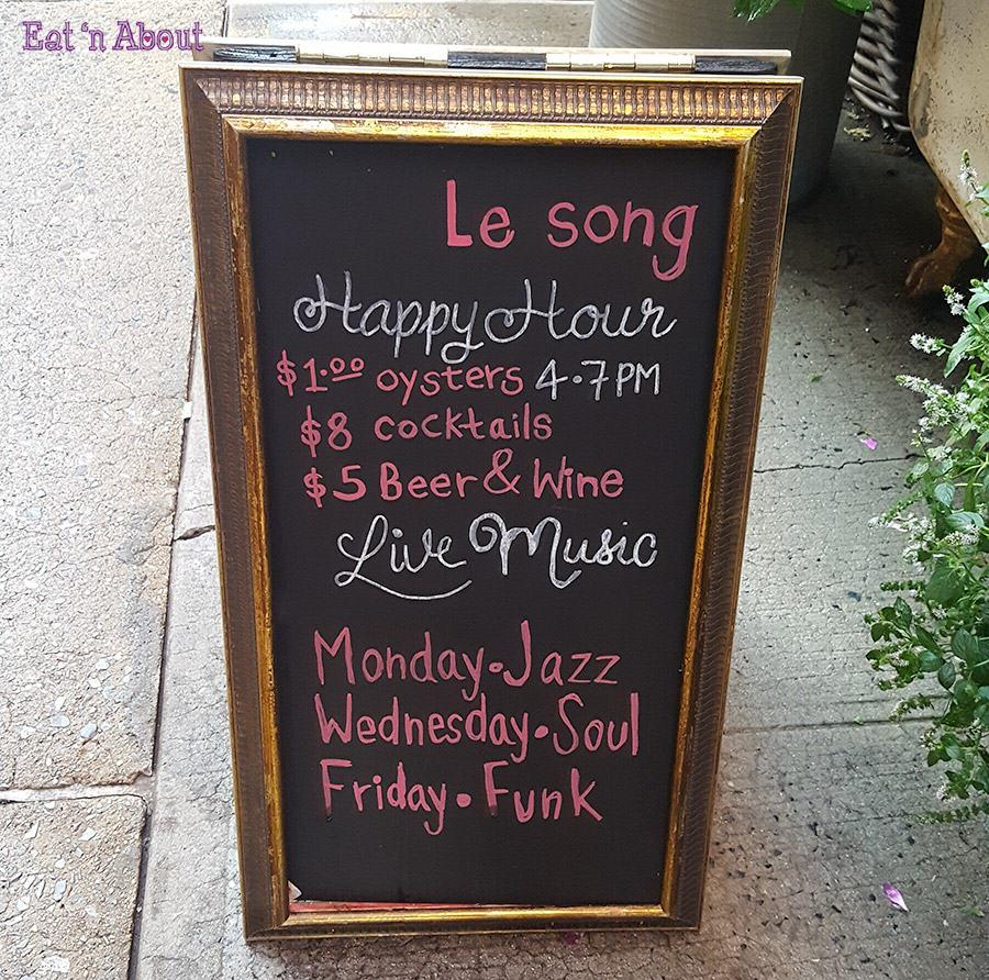 Le Song New York - Happy Hour Menu