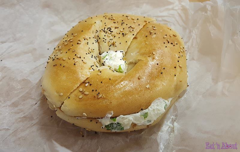 "Chelsea Bagel & Cafe - ""Everything"" bagel with chives cream cheese"