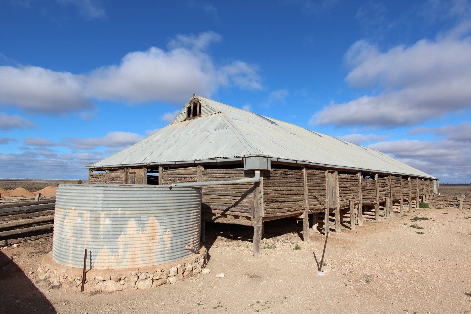 Shearing shed exterior. Mungo National Park. North West Victoria Tour, July 2020.