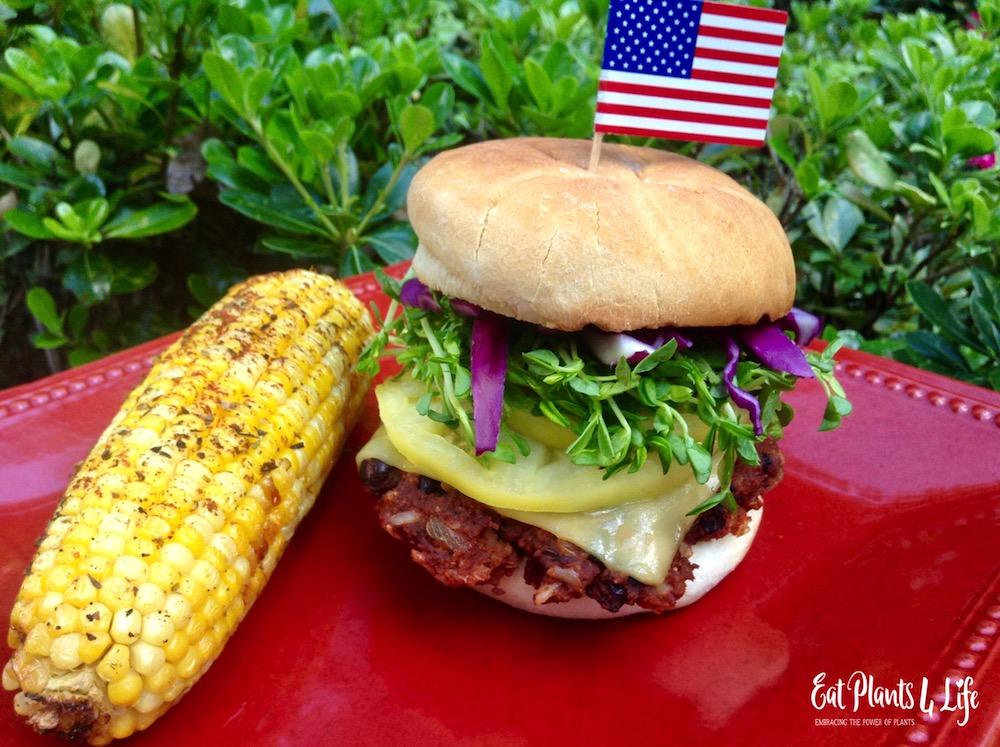 Balsamic Corn Salad & Vegan Burgers 3
