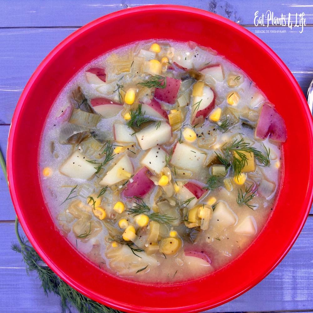 Rustic Potato Leek Soup in honor o National Potato Month