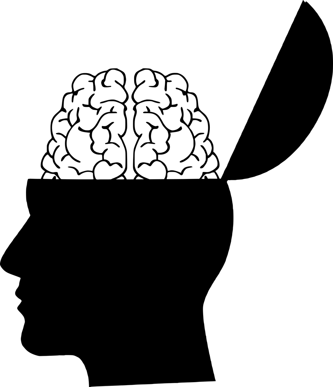 brain, head, silhouette