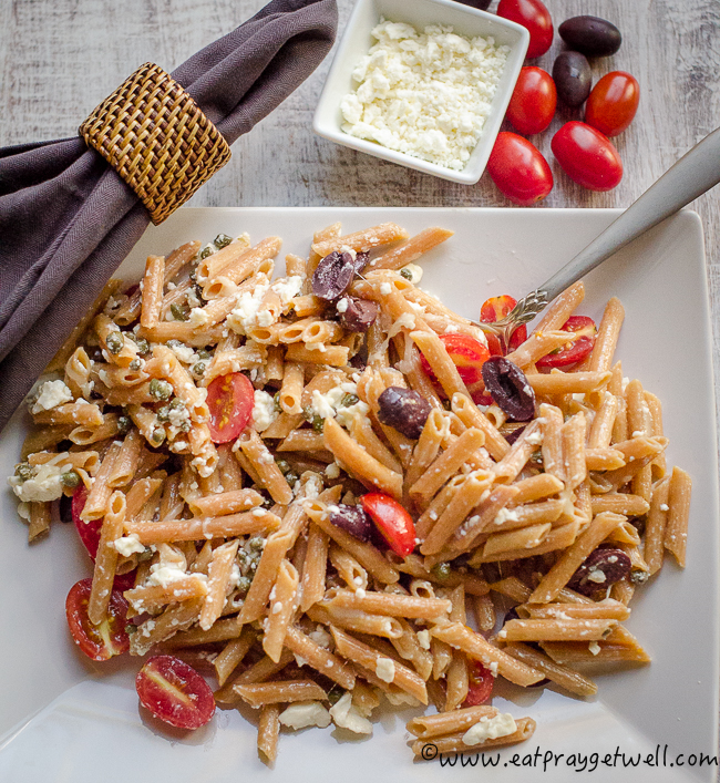 pasta with olives and feta