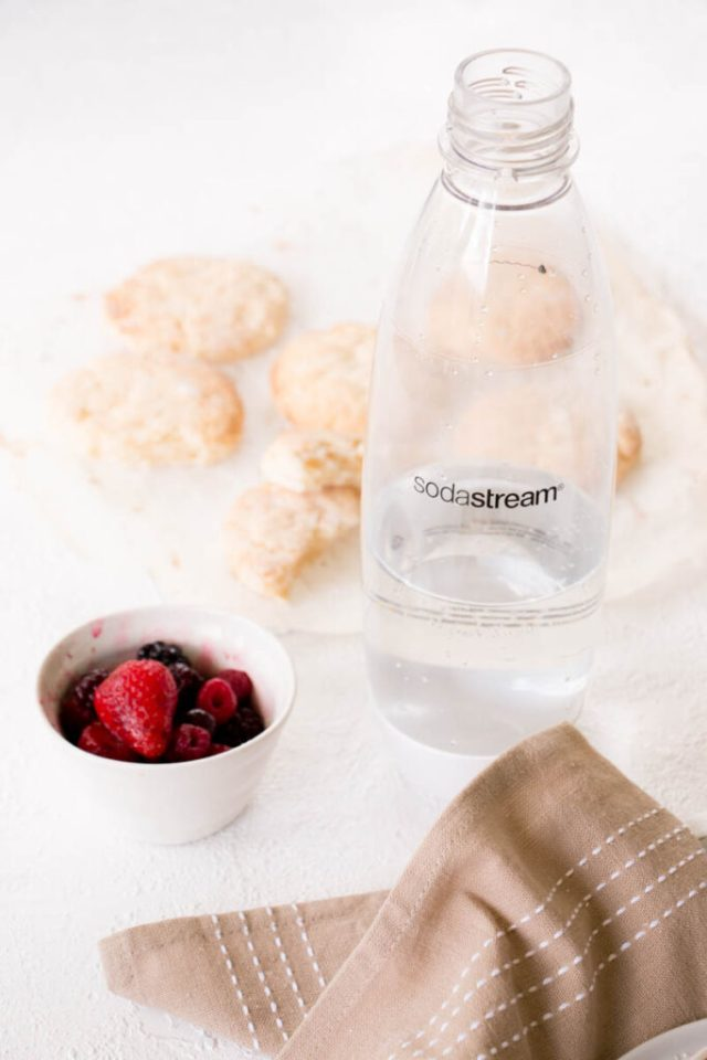 Berrylicious Coconut Cream Scone Biscuits (gluten free with dairy free options) made with Sodastream sparkling water