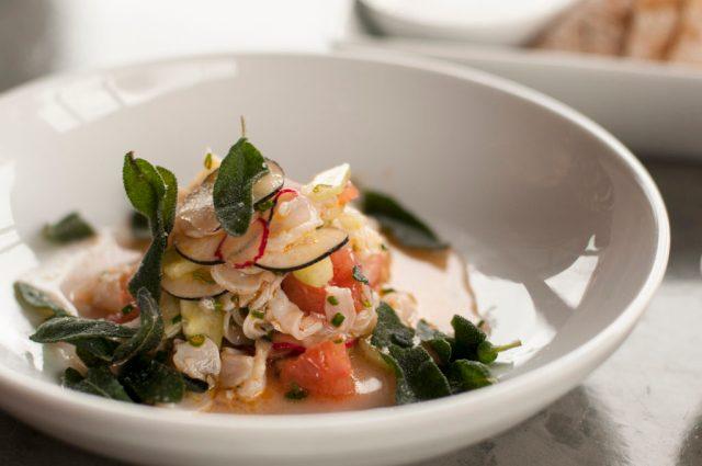 Geoduck crudo from Anchovies & Olives and How to Cook a Wolf. Photo credit: Geoffrey Smith