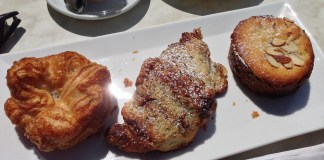 Kouign amann, chocolate banana almond croissant, and bostock from b. patisserie