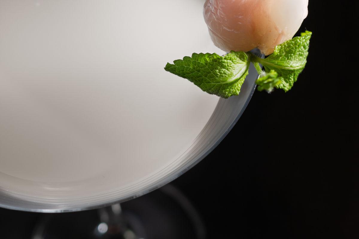 Closeup of a cool lychee martini