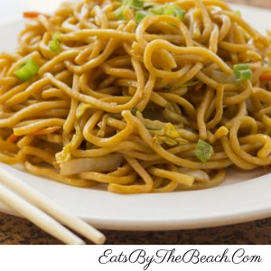 Plate of easy vegetable lomein noodles with cabbage and green onion.