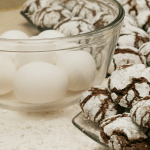 Powder sugar coated spicy, Mexican hot chocolate cookies