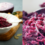 White bowl of sweet and sour braised red cabbage