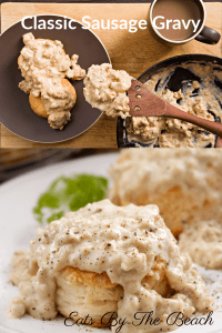 Biscuits with southern sausage gravy on top