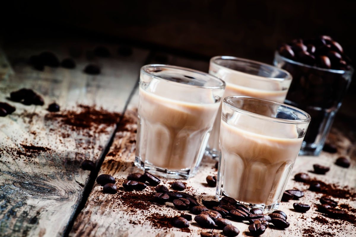 Glasses of homemade coffee liqueur