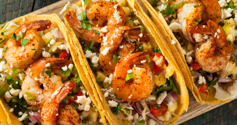 SPICY SHRIMP TACOS WITH SWEET AND CRUNCHY SLAW