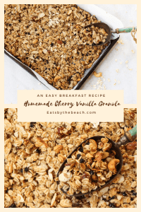 An easy breakfast recipe for homemade cherry vanilla granola with oats, honey, brown sugar, dates, cashews, sliced almonds, vanilla, and cinnamon.