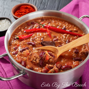 A pot of Homestyle Beef Chili, a classic comfort food.