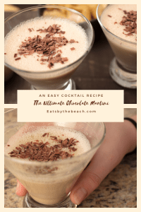 The ultimate chocolate martini garnished with chocolate shavings.